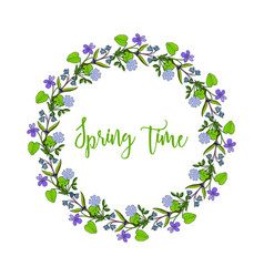 spring wreath with violet flowers vector image vector image