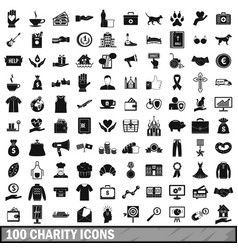 100 charity icons set simple style vector image