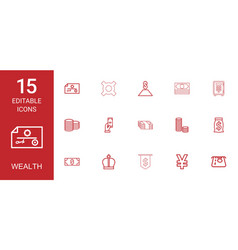 15 wealth icons vector image