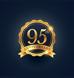 95th anniversary celebration badge label in vector image
