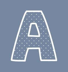 A alphabet letter with white polka dots on blue vector image