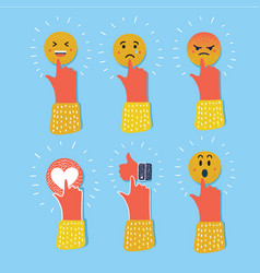 abstract funny flat style emoji emoticon reactions vector image