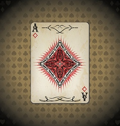 Ace of diamonds poker cards old look vintage vector