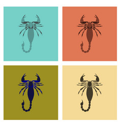 Assembly flat animal scorpio vector