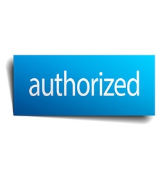 Authorized blue square isolated paper sign on vector