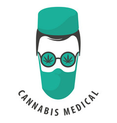 Banner for medical marijuana with doctor face vector