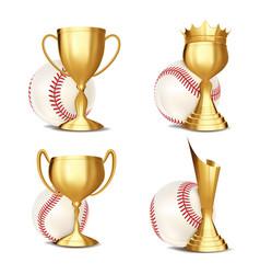 baseball game award set ball vector image