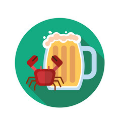 Beer mug with crab flat design long shadow color vector