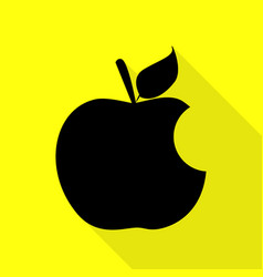 bite apple sign black icon with flat style shadow vector image