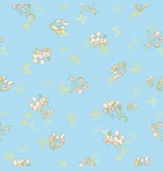 blue pattern with flower and butterfly vector image