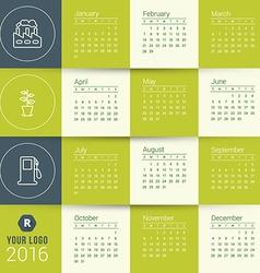 Calendar Template Calendar 2016 Week Starts Sunday vector image