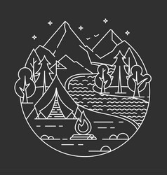 Camping in a forest vector