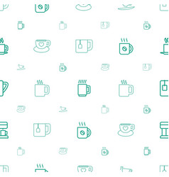 Cappuccino icons pattern seamless white background vector