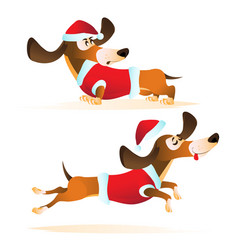 cartoon brown dachshund in santas hat and red vector image