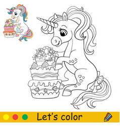 cartoon cute sitting unicorn with cake coloring vector image