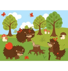 Cartoon Hedgehogs vector