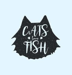 cats love fish cute or fun t-shirt print design vector image