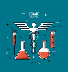 color poster donate blood with test tubes and vector image