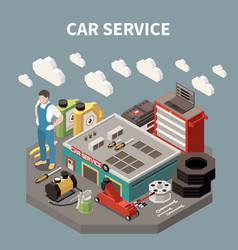 Colored isometric car service composition vector