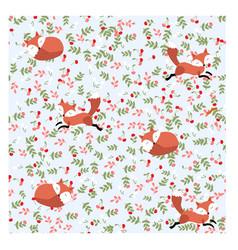 cute fox cartoon in cherry gardenhappy spring vector image