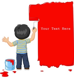 Cute little boy painting the wall with red color vector