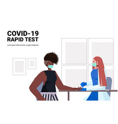 Doctor in mask taking blood sample woman vector