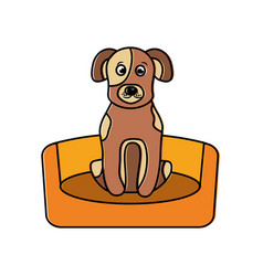 Dog sitting in the bed pet animal vector