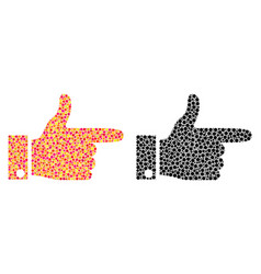 Dot hand pointer right mosaic icons vector