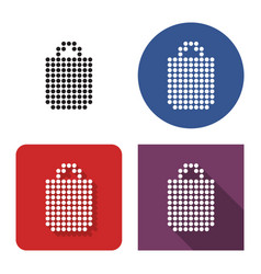 dotted icon shopping bag in four variants with vector image