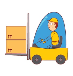 Driving a forklift vector