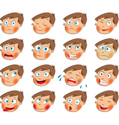 Emotions Cartoon facial expressions set vector