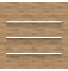 Empty wooden shelf for exhibit on brick wall vector