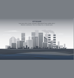 flat banner gray panorama cityscape vector image