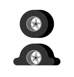 flat tire and whole wheel car vector image