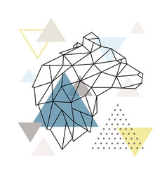 Geometric bear silhouette on triangle background vector