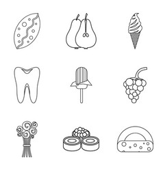Glucose icons set outline style vector