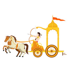 Golden chariot with 2 horse and warrior vector