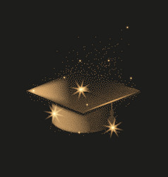 graduation hat or mortar board divergent gold vector image