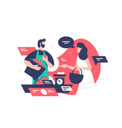 Handsome bearded man employee in farmers market vector