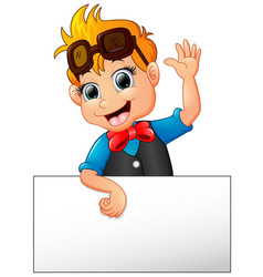 happy kid cartoon holding blank sign vector image