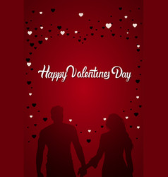 happy valentines day greeting card silhouette vector image