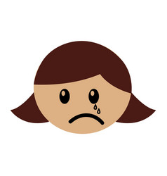 Head girl crying expression vector