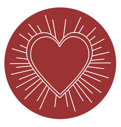 Heart love sun burst vector