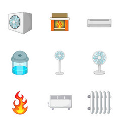 heating system icons set cartoon style vector image