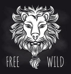 Hipster lion on blackboard background vector
