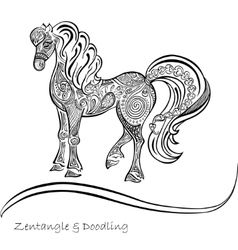 Horse ornaments black and white patterns vector