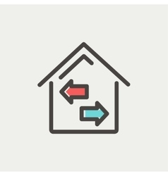 House with left and right arrow thin line icon vector image