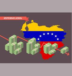 Hyperinflation in venezuela concept vector
