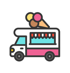 ice cream truck food truck filled style editable vector image