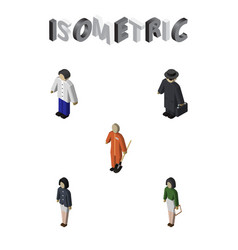Isometric human set of detective male girl and vector